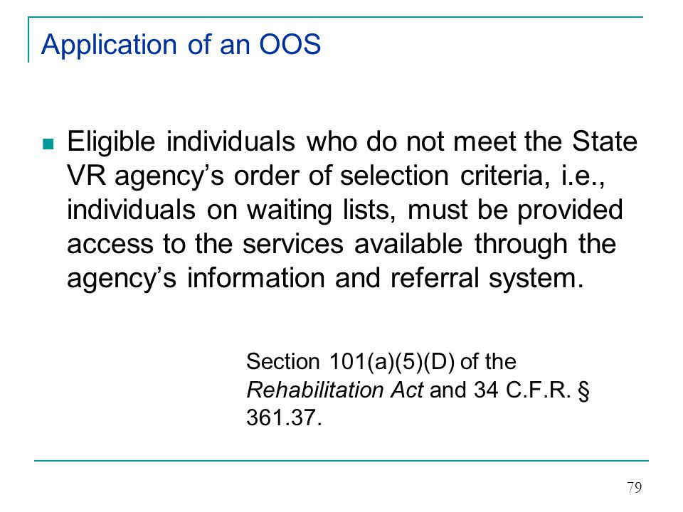 Application of an OOS