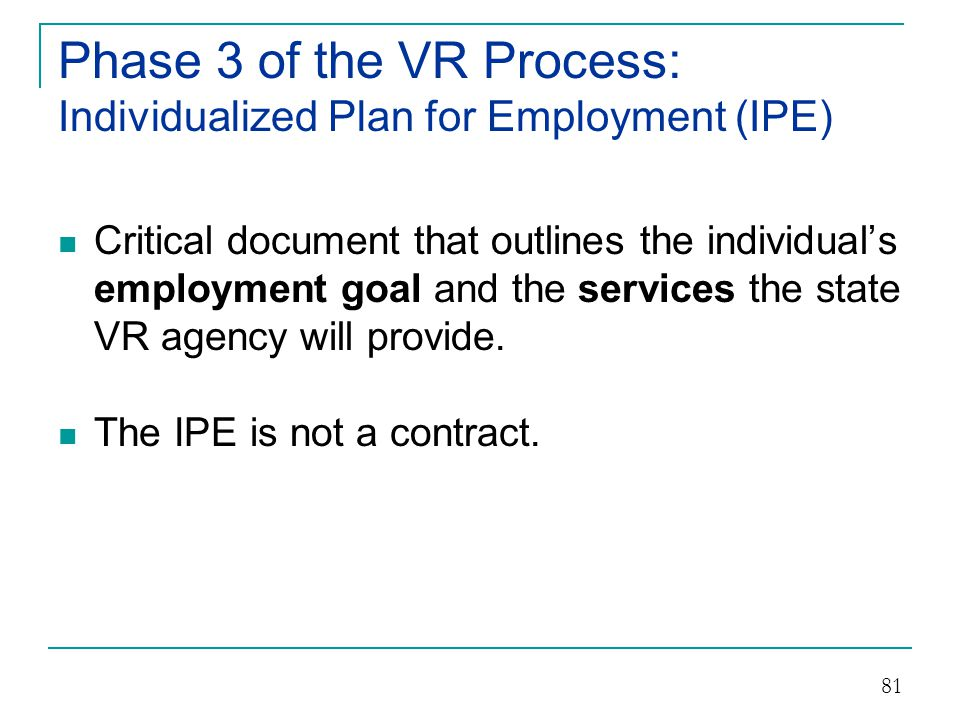 Phase 3 of the VR Process: Individualized Plan for Employment (IPE)