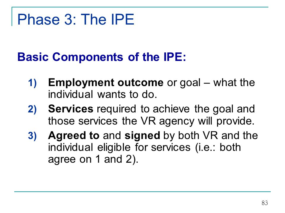 Phase 3: The IPE Basic Components of the IPE: