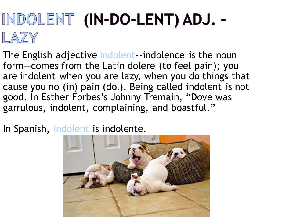 indolent (IN-do-lent) adj. - lazy