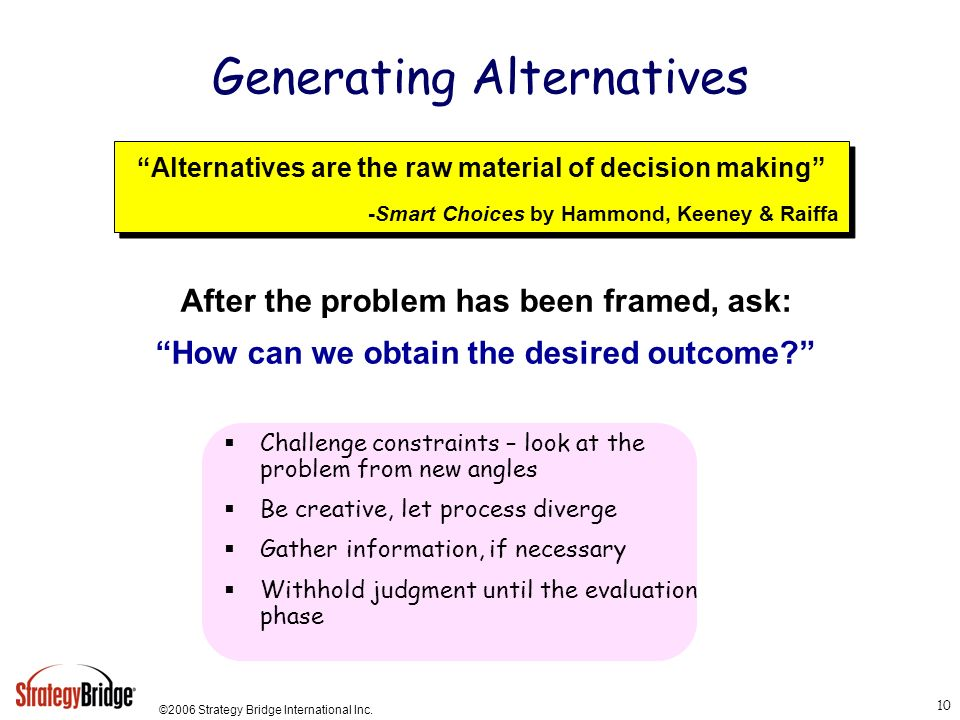 Generating Alternatives