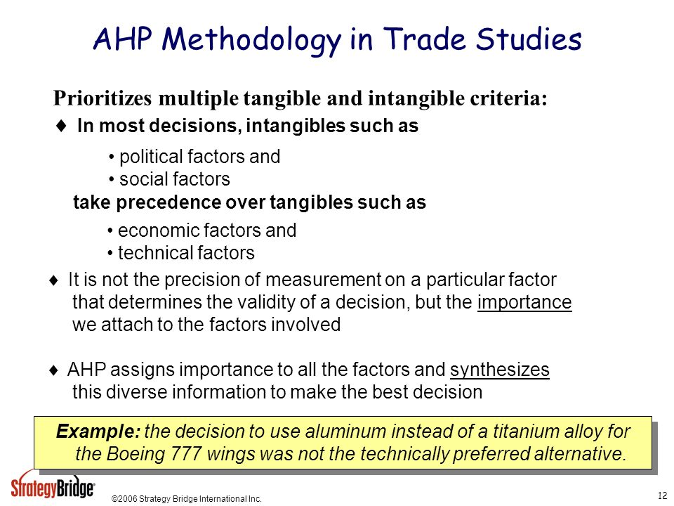 AHP Methodology in Trade Studies