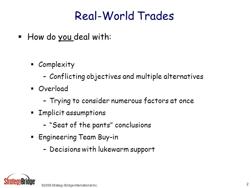 Real-World Trades How do you deal with: Complexity