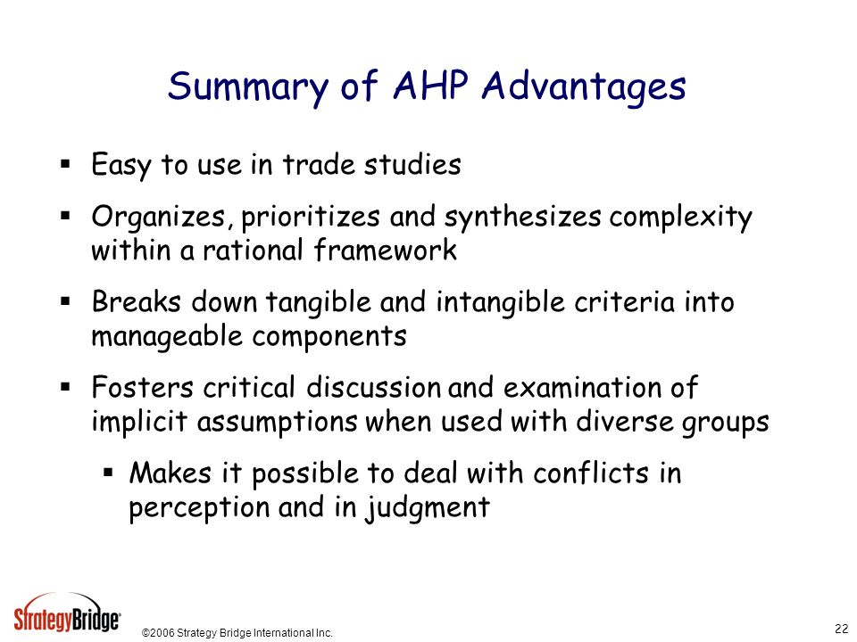 Summary of AHP Advantages
