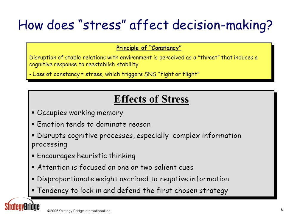 How does stress affect decision-making