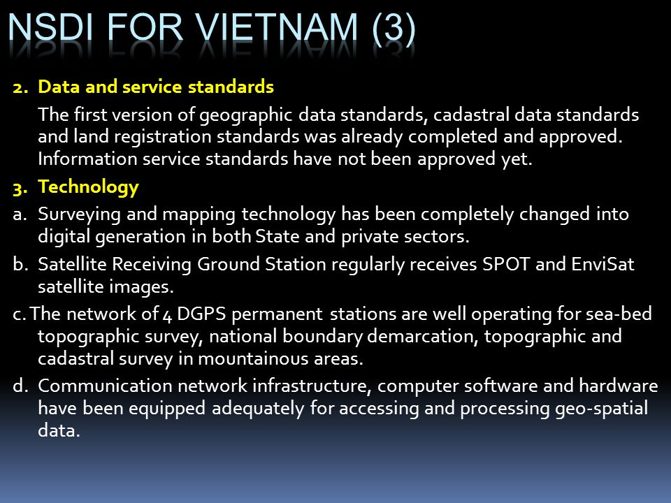 NSDI for vietnam (3) 2. Data and service standards