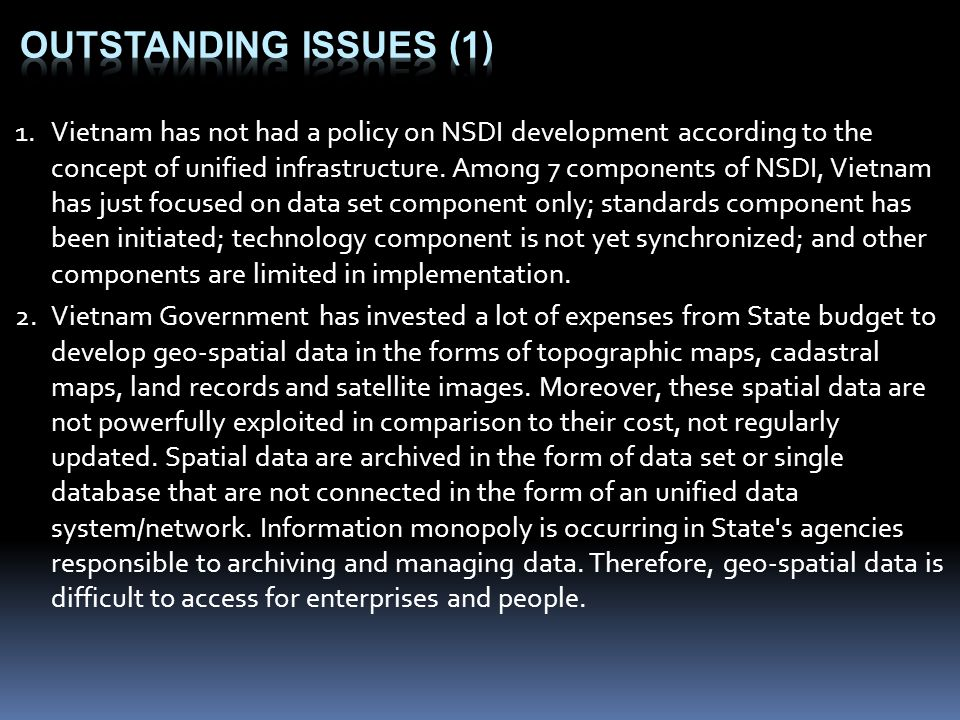 Outstanding issues (1)