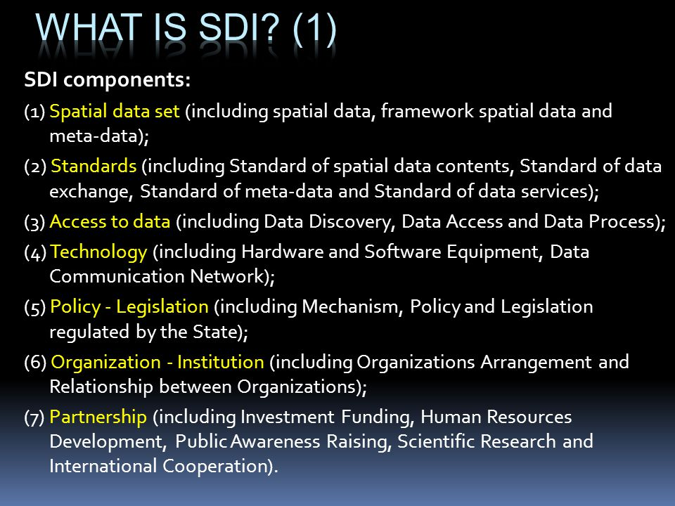 What is SDI (1) SDI components: