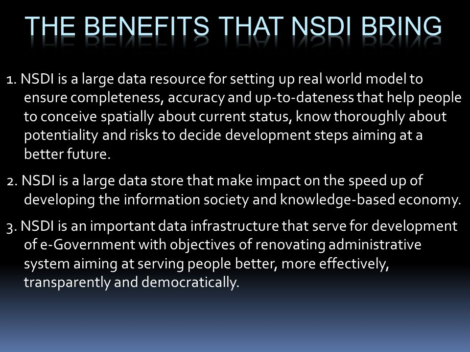 The benefits that NSDI bring