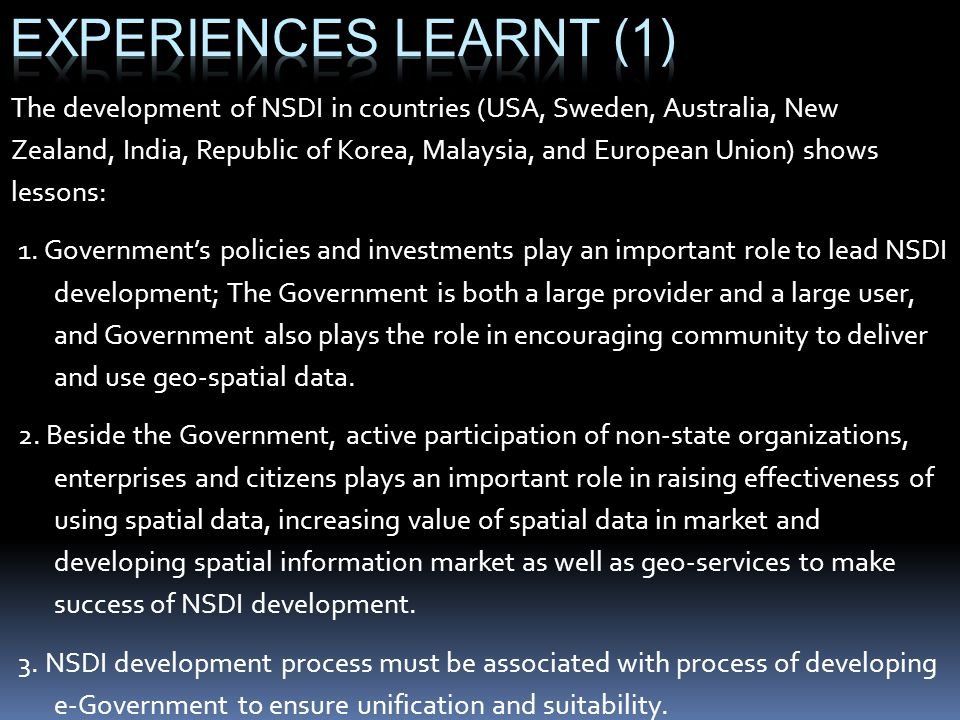 Experiences learnt (1)