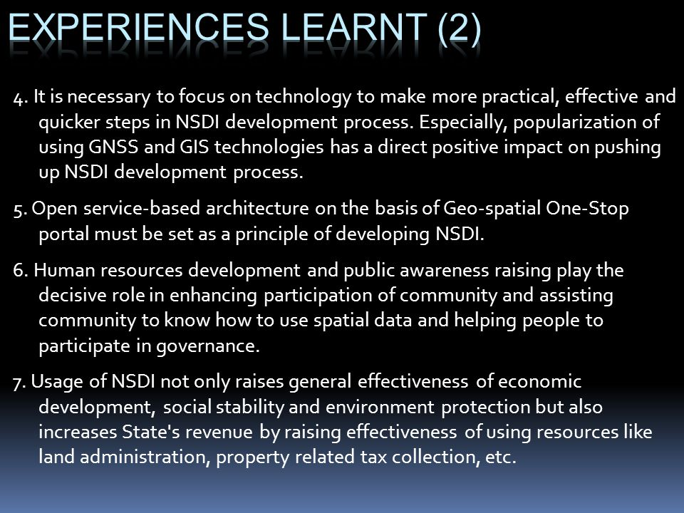 Experiences learnt (2)