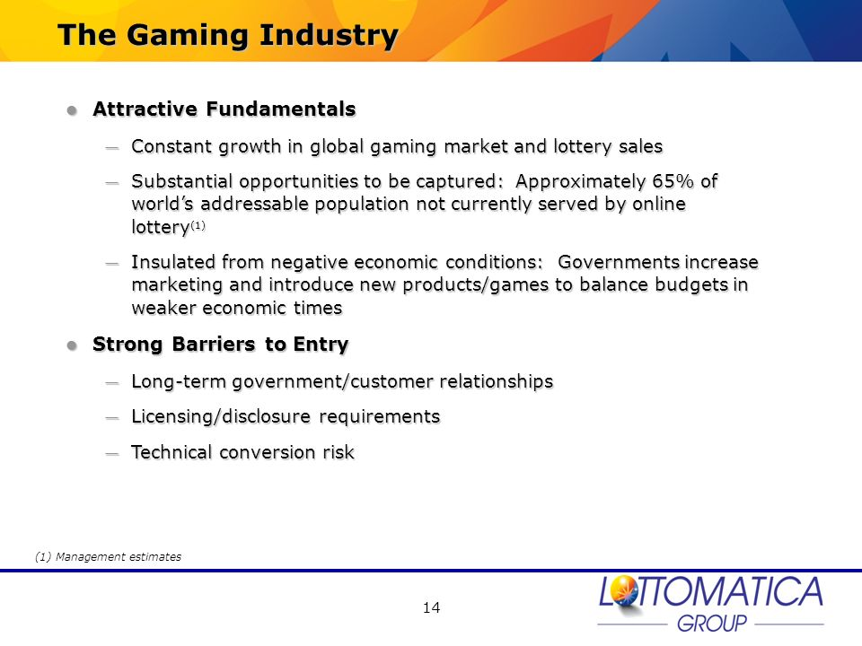 The Gaming Industry Attractive Fundamentals Strong Barriers to Entry