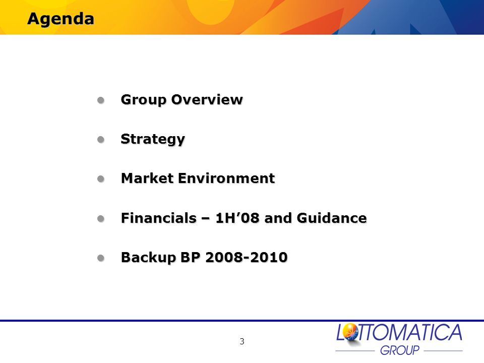 Agenda Group Overview Strategy Market Environment