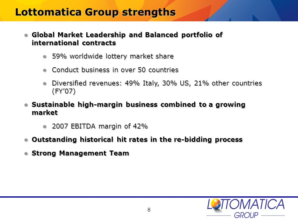Lottomatica Group strengths