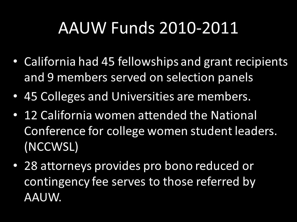 AAUW Funds 2010-2011 California had 45 fellowships and grant recipients and 9 members served on selection panels.