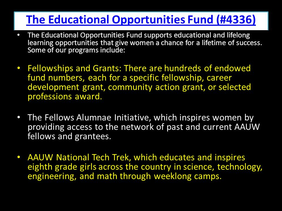 The Educational Opportunities Fund (#4336)