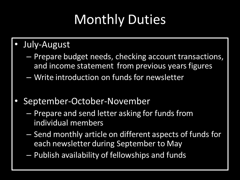 Monthly Duties July-August September-October-November