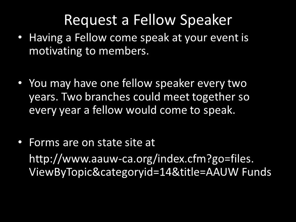 Request a Fellow Speaker