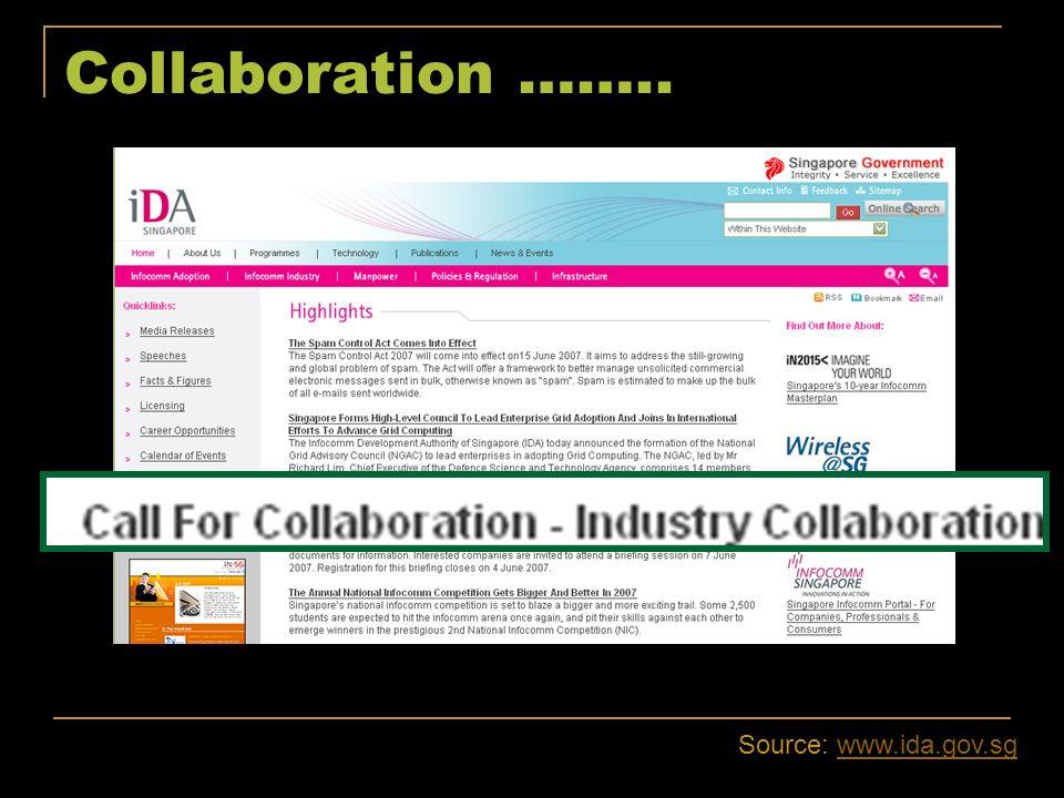 Collaboration …….. Source: www.ida.gov.sg