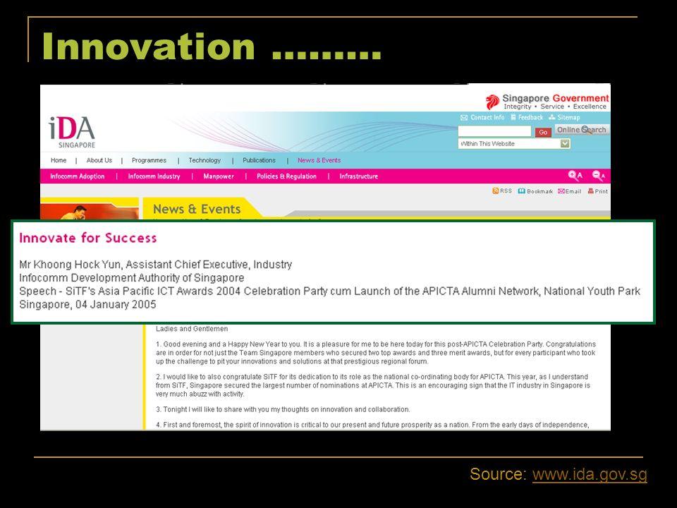 Innovation ……… Source: www.ida.gov.sg