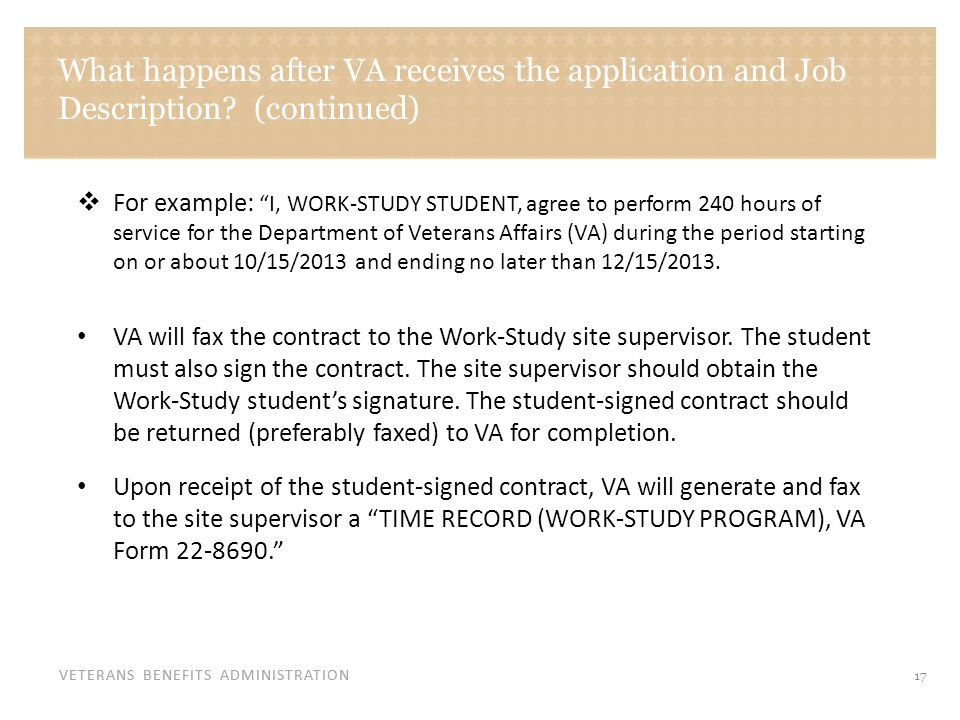 Sample copy of VA Form 22-8690 Time Record (Work Study Program) Form
