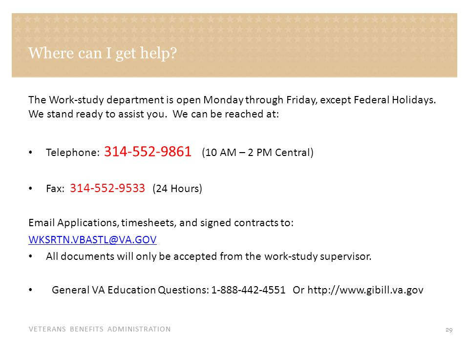 For general inquiries related to Veterans Services: