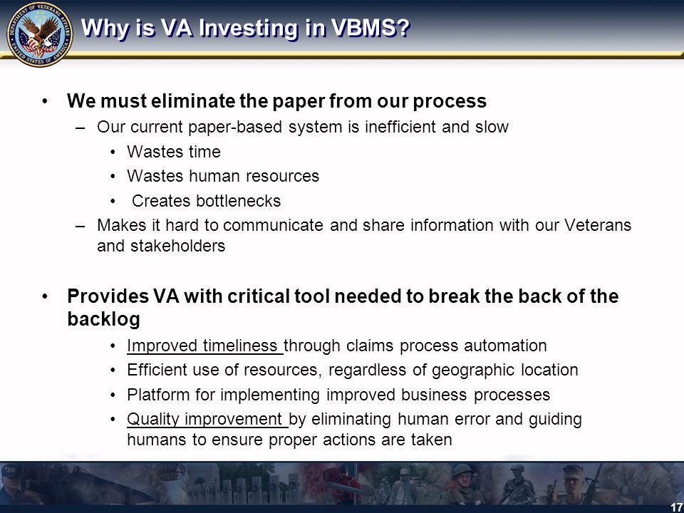 Why is VA Investing in VBMS