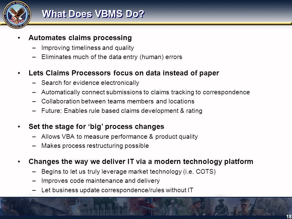 What Does VBMS Do Automates claims processing