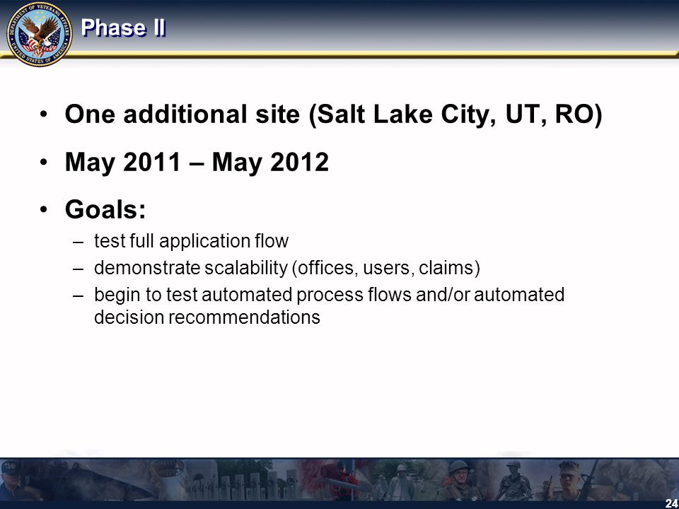 One additional site (Salt Lake City, UT, RO) May 2011 – May 2012