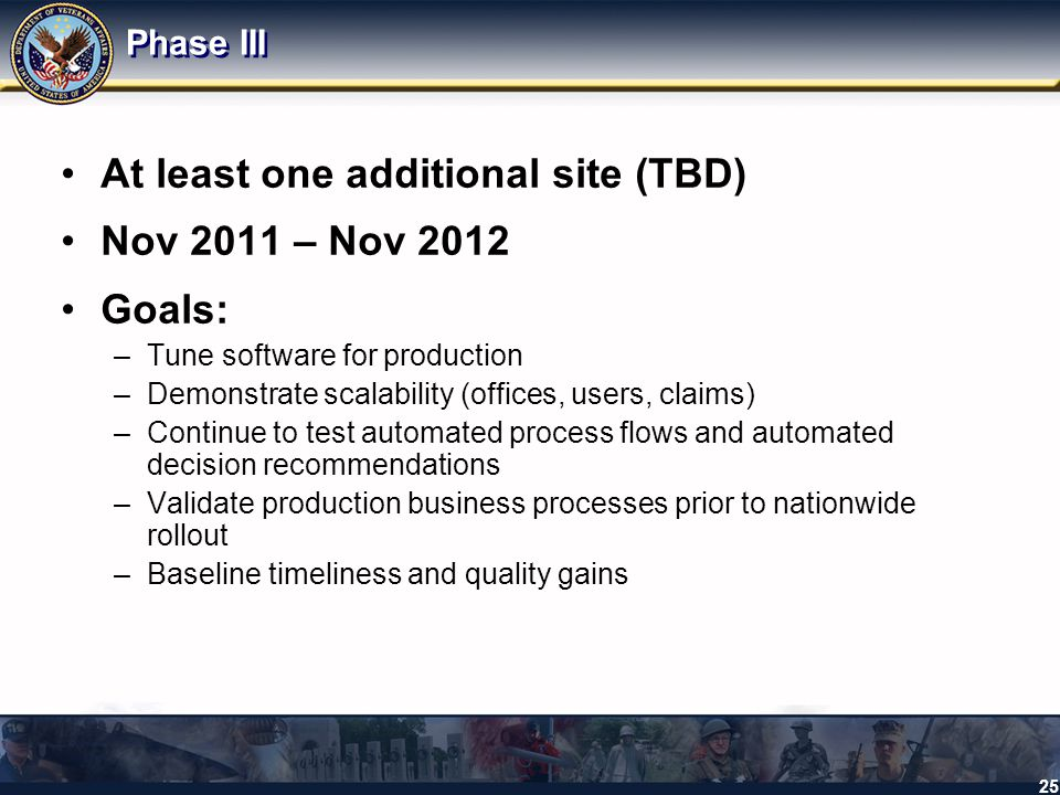 At least one additional site (TBD) Nov 2011 – Nov 2012 Goals: