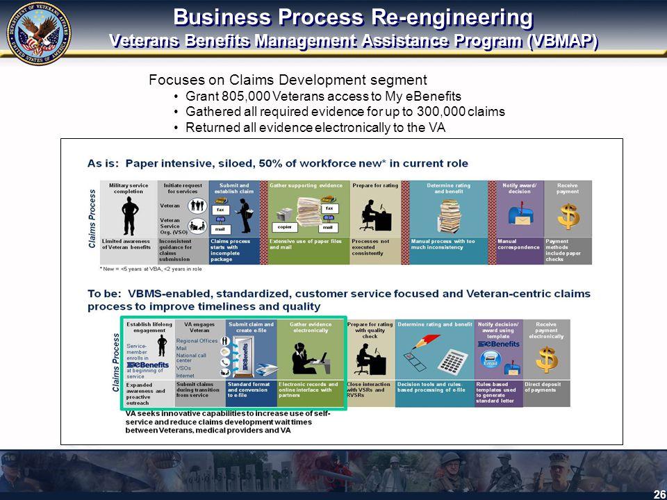 Business Process Re-engineering Veterans Benefits Management Assistance Program (VBMAP)