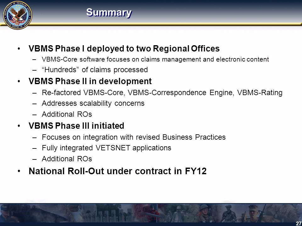 Summary National Roll-Out under contract in FY12