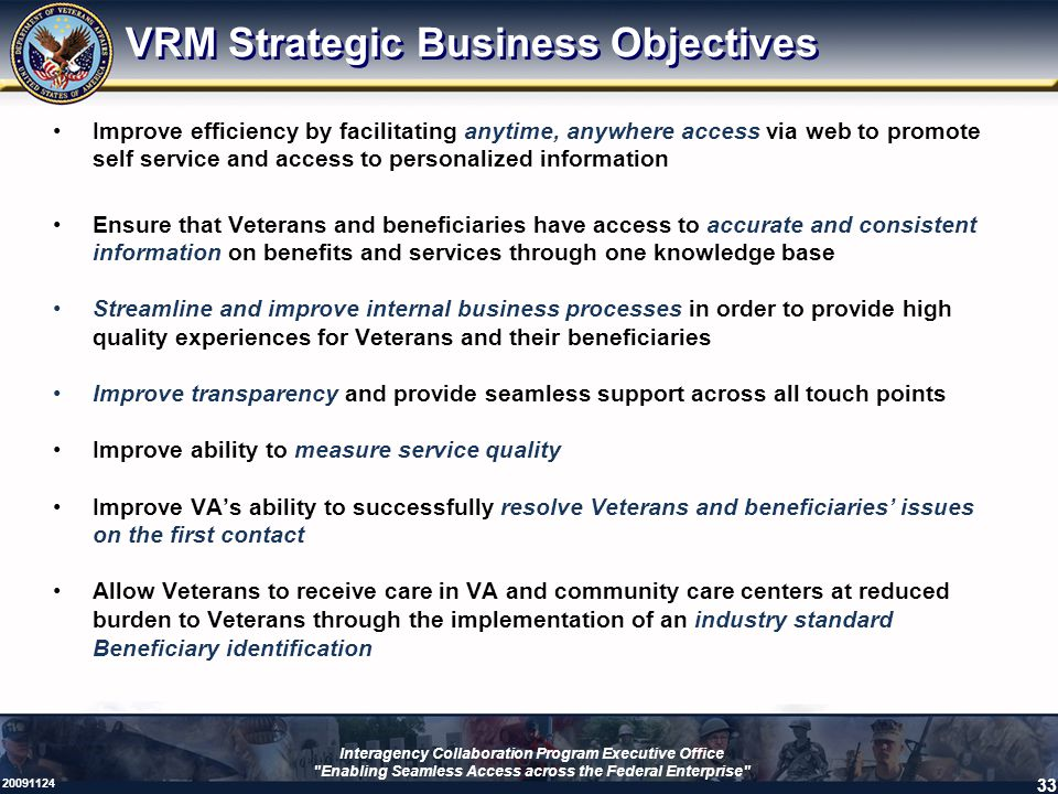 VRM Strategic Business Objectives