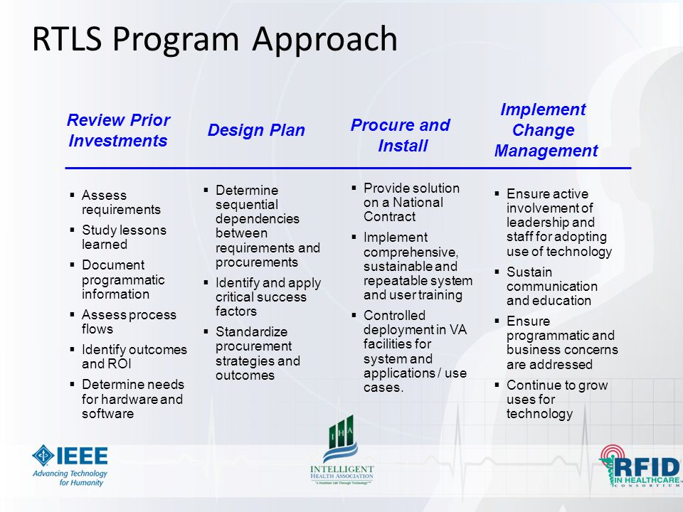 RTLS Program Approach Implement Review Prior Change Procure and