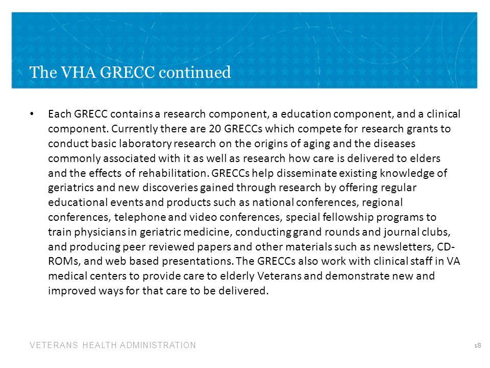 The VHA GRECC continued