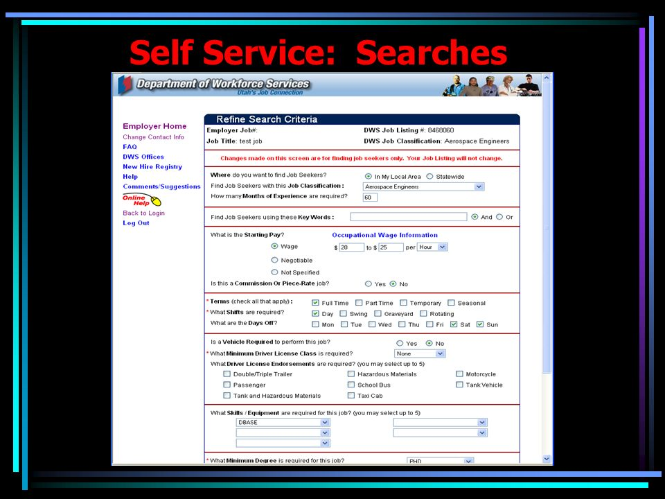 Self Service: Searches