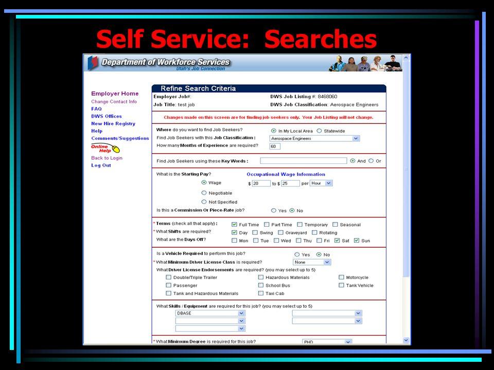 Self Service: Searches