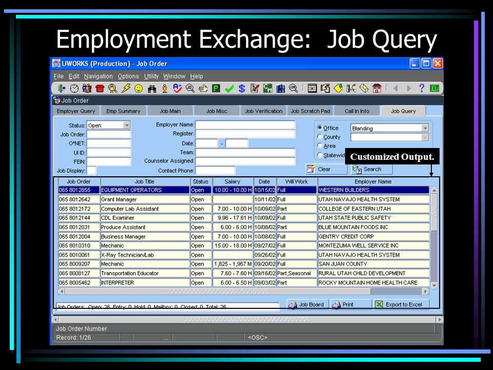 Employment Exchange: Job Query