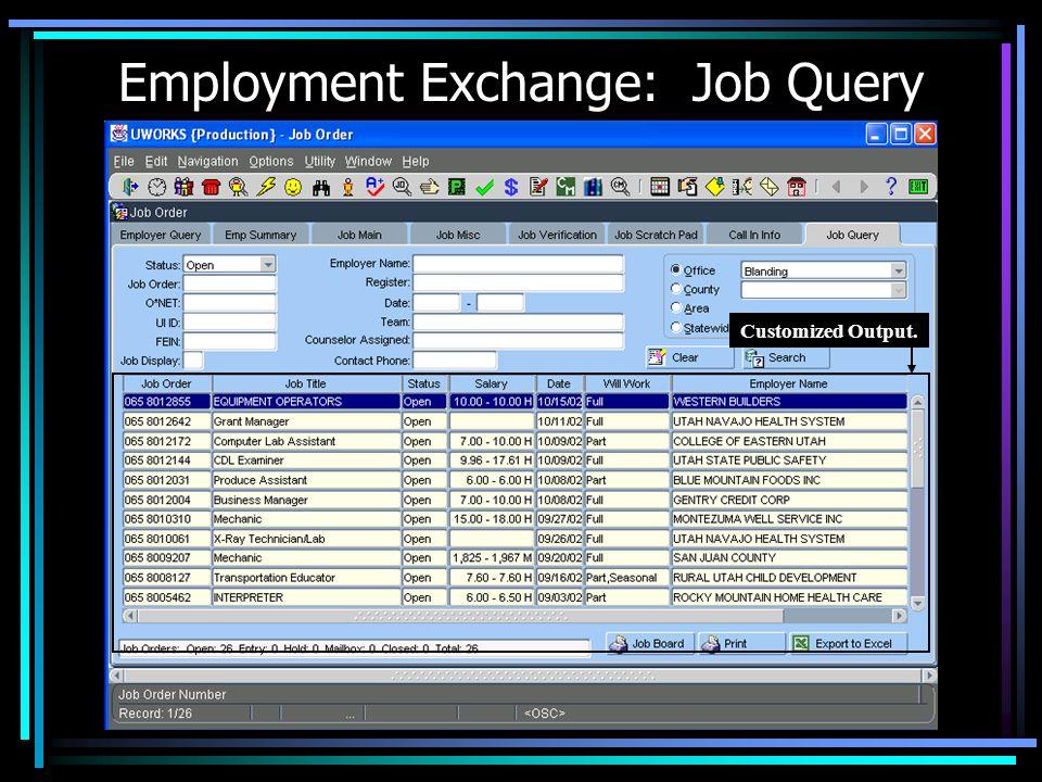 Employment Exchange: Job Query
