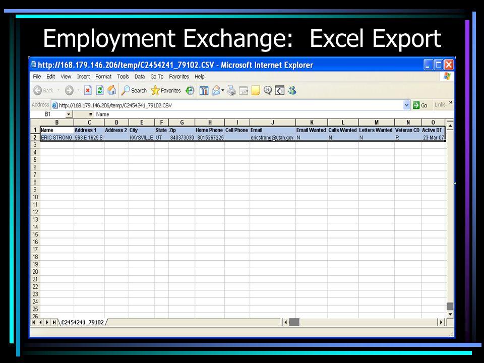Employment Exchange: Excel Export