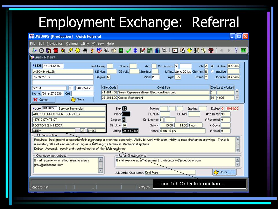 Employment Exchange: Referral
