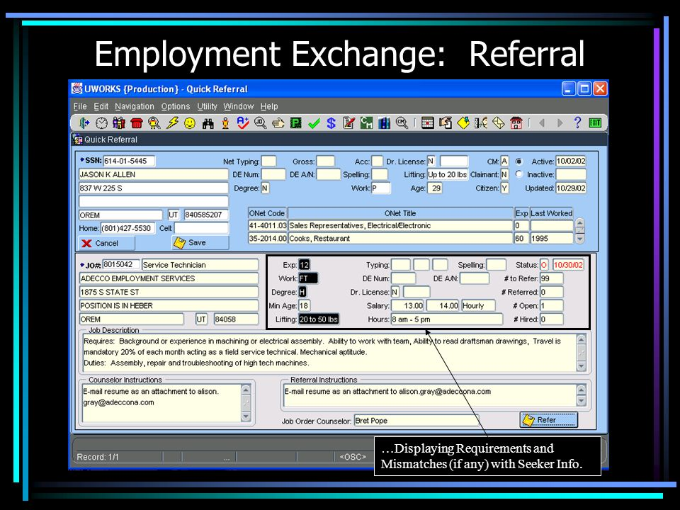 Employment Exchange: Referral