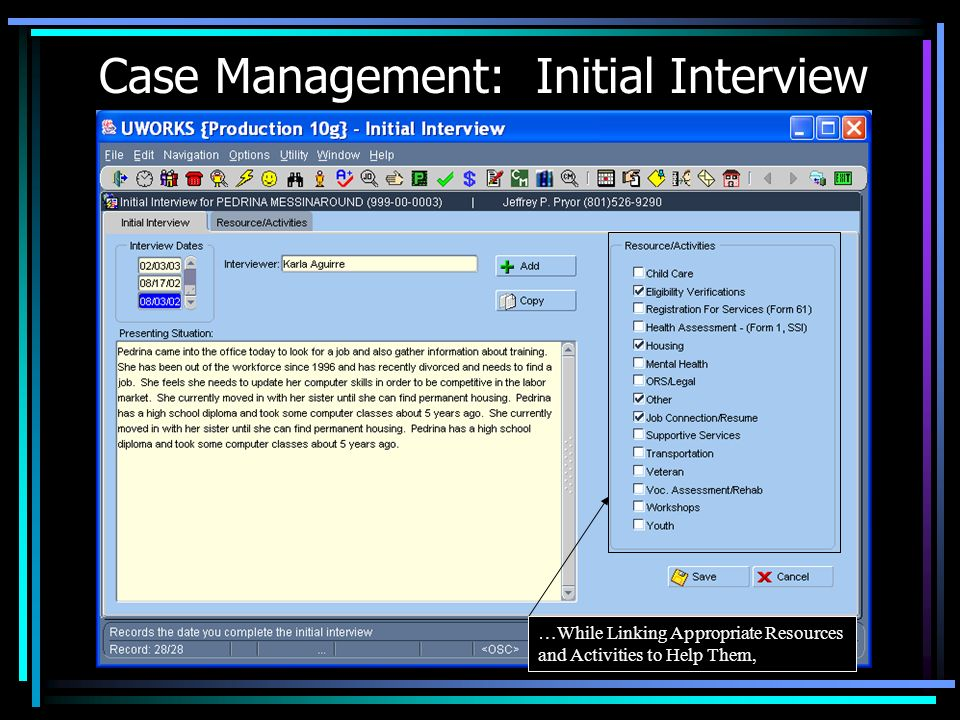 Case Management: Initial Interview