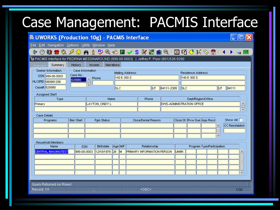 Case Management: PACMIS Interface