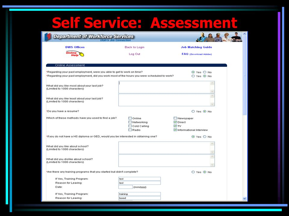 Self Service: Assessment