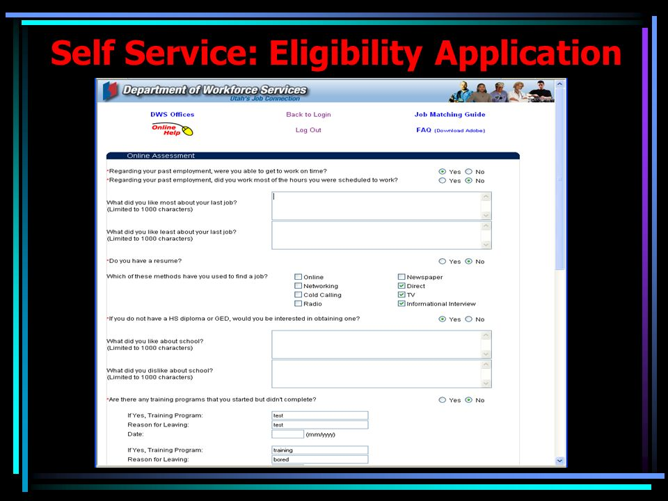 Self Service: Eligibility Application