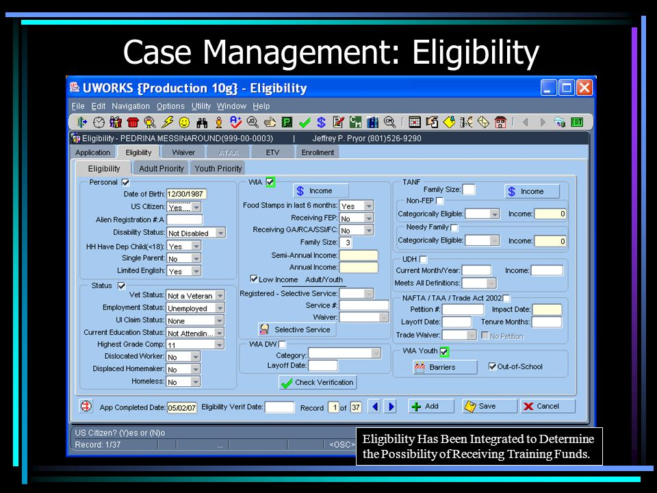 Case Management: Eligibility