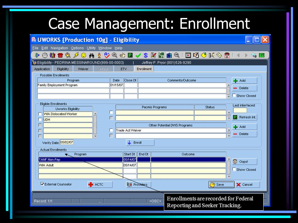 Case Management: Enrollment