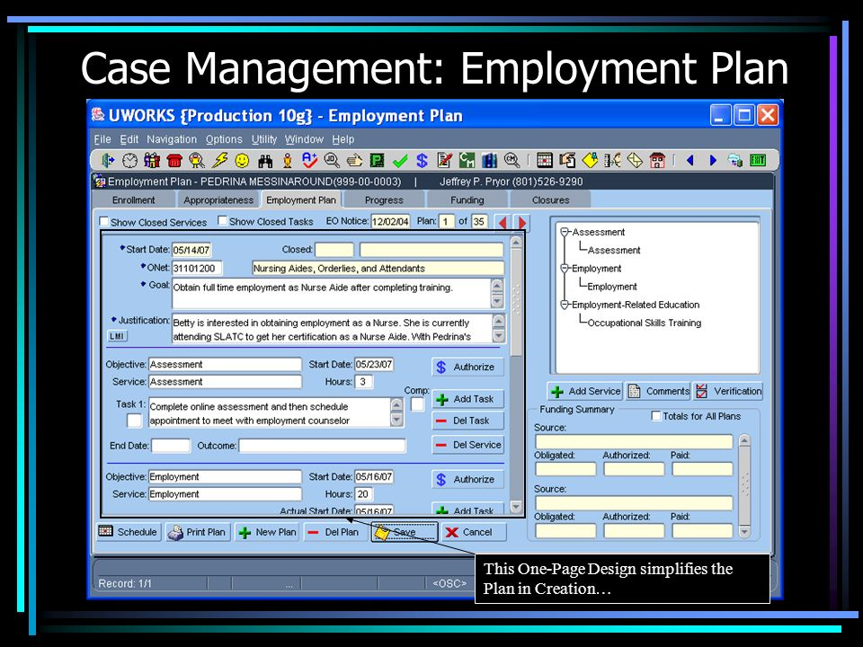 Case Management: Employment Plan