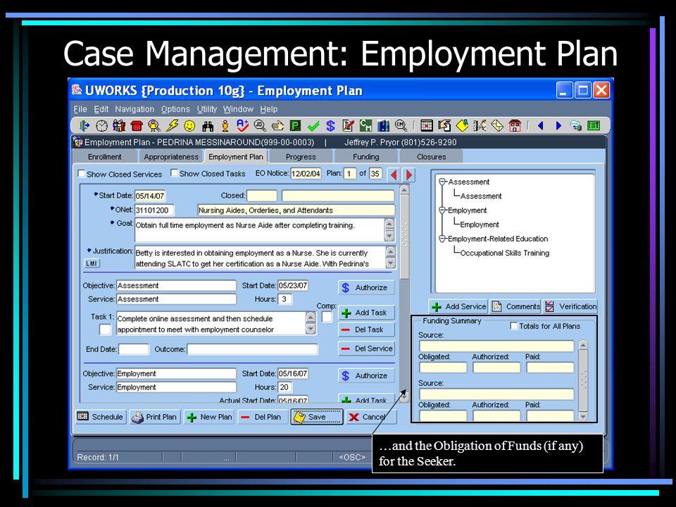 Case Management: Employment Plan